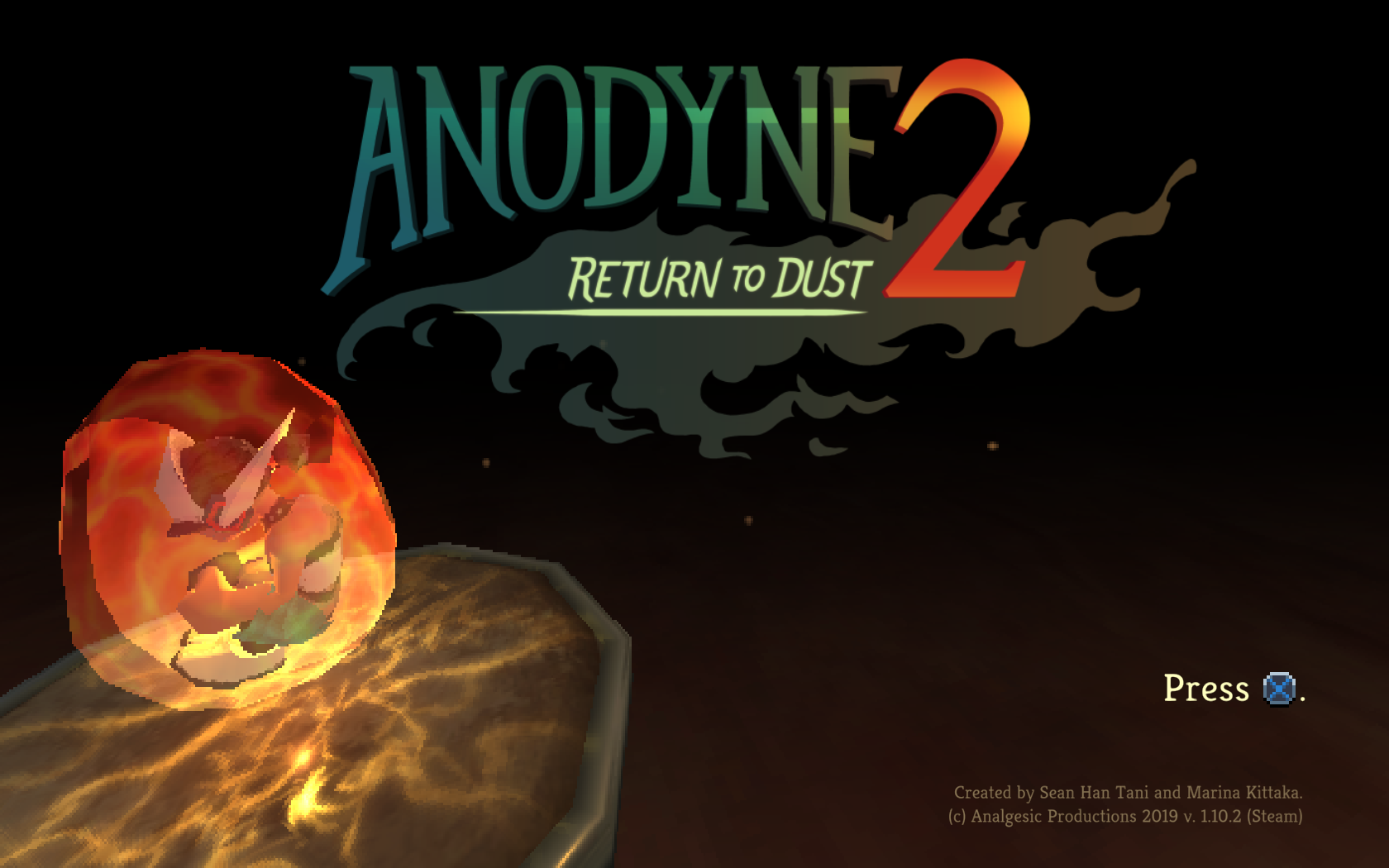 The title screen for Anodyne 2: Return to Dust.